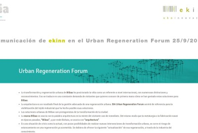 Presentación Ekinn en BIA (Bilbao International Architecture Forum)